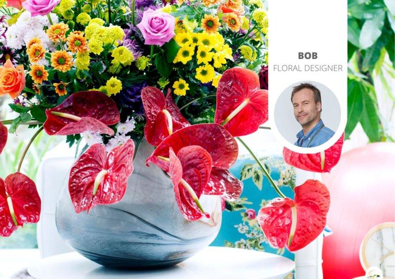 Ein tropischen Blumenstrauß ist nicht komplett ohne die Anthurie