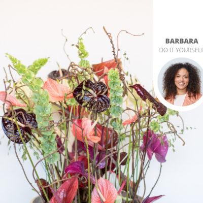 Ein Blumenstrauß mit Schnittanthurien: 3 Beispiele