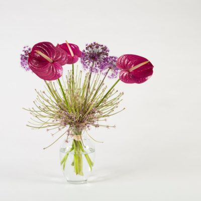 Ton-sur-ton Anthurium bouquet with Allium