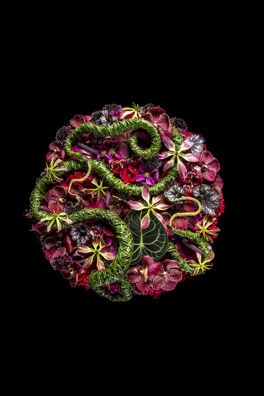 3x floral designs with Anthuriums by master florist Hanneke Frankema