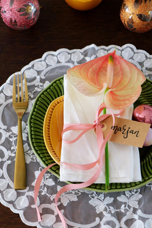 Anthurium als kerst tafelschikking