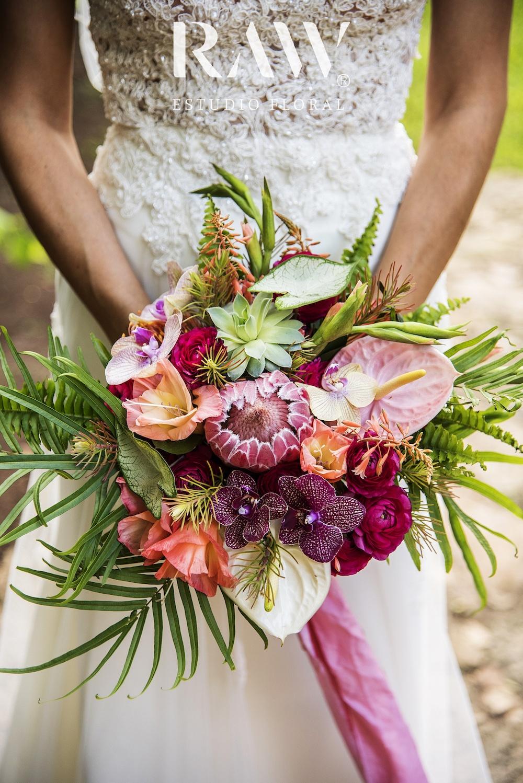 Floral bruidsboeket met anthurium bloemen