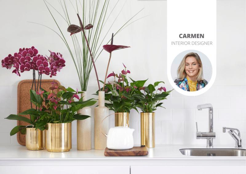 Kijkje in de keuken: anthuriums geven kleur aan de keuken