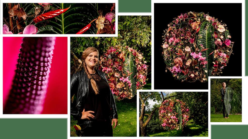 3x de anthurium in bloemencreaties door master florist Hanneke Frankema